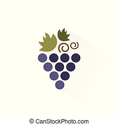 Bunch of grapes icon with shadow. Flat vector illustration