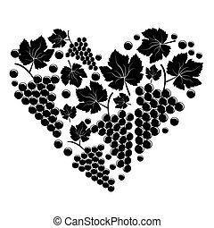 Bunch of grapes in the form of heart