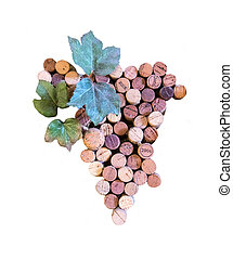 bunch of grapes made from cork stoppers