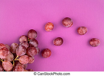 Bunch of grapes Red Globe on pink background