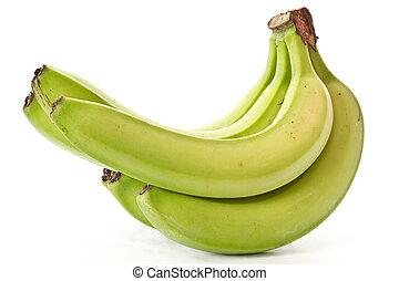 green banana - bunch of green bananas on immature white