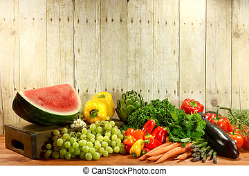 Grocery Produce Items on a Wooden Plank - Bunch of Grocery...