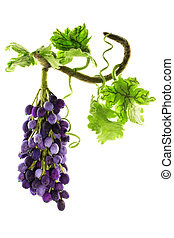 Bunch of handmade grapes from felted wool on white background