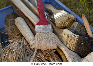 Bunch Of House Painting Brushes
