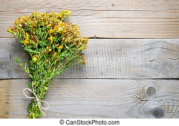 Bunch of hypericum on wooden background