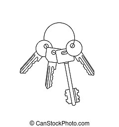 Bunch of keys line drawing.