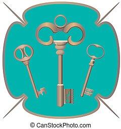 Bunch of keys metal chrome decorative unlock steel elements isolated