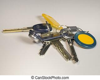 Bunch of keys on a light background