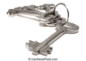 bunch of keys - bounch of keys from steel on a white...