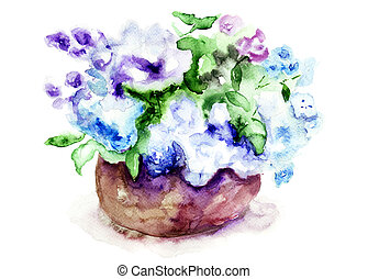 Bunch of lilac flowers, watercolor illustration