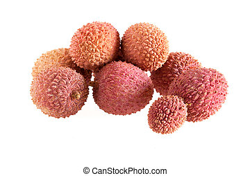 Bunch Of Lychees On White Background