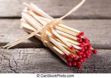 Bunch of matchsticks with red heads