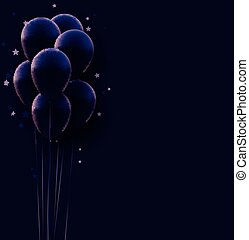 Bunch of matt dark violet balloons with threads on dark background. Stars confetti. Space for text. Vector festive illustration.