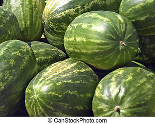 Bunch of Melons - Bunch of Watermelons at Farmers Market
