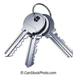 Bunch of metal keys isolated on white background
