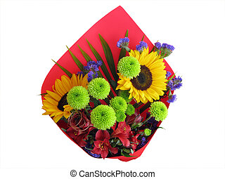 Bunch of mixed flowers isolated with cutting-path