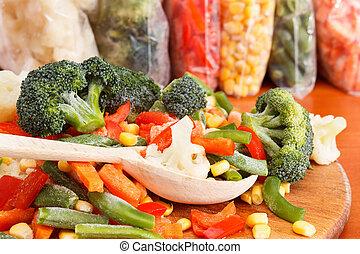 Bunch of mixed frozen vegetables