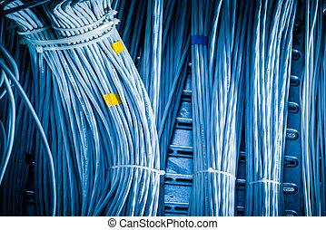 detail of large number of ethernet cables tied together connecting racks inside server room