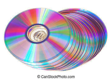 Bunch of new colorful cd drive. Closeup on a white background.