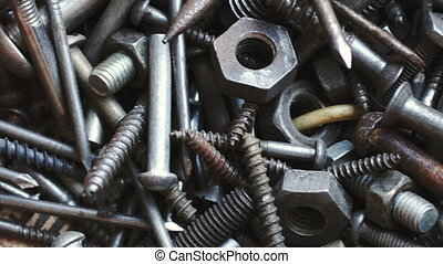 Bunch of old nuts bolts and nails - Background of bunch of...