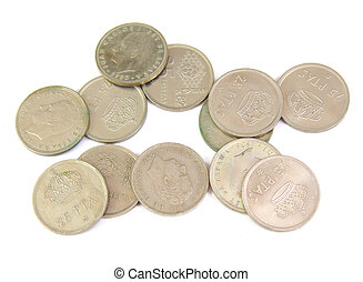 Bunch of old Spanish coins isolated on a white background. 25 pesetas. 1982 Word Cup.
