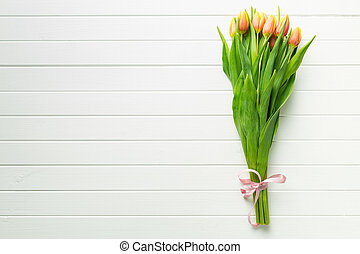 Bunch of orange tulip flowers.