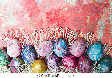 Easter eggs on a table top view