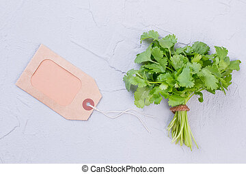 Bunch of parsley and blank label.