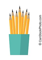 Bunch of pencils in a cup vector illustration.