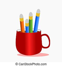 Bunch of pencils in a red cup of coffee,illustration vector.