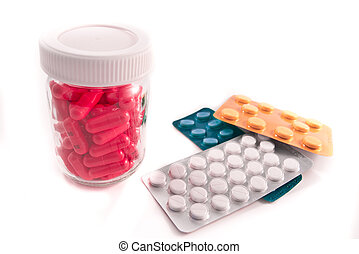 bunch of pills - pills assortment on white bakcground