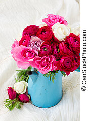 bunch of pink ranunculus flowers