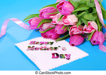 bunch of pink tulips and card for mom