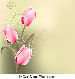 Bunch of pink tulips - Light green background with bunch of...