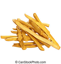 bunch of potatoes on white background, 3d illustration