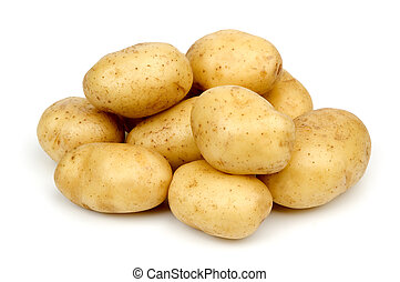 potato - bunch of potatoes on white background close up ...