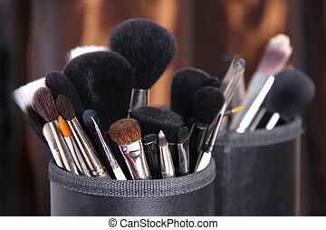 Bunch of professional makeup brushes