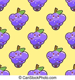 Bunch of purple grapes seamless pattern with a happy laughing face on yellow background. for wallpaper and textile, vector illustration