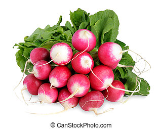 Bunch of radishes isolated on white background