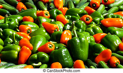 Bunch of red and green pepper