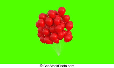 Bunch of Red Balloons Swaying in the Wind on a Green Background. 3d Animation. Ultra HD 4K 3840x2160.