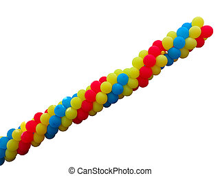 Bunch of red, blue and yellow balloons isolated over white