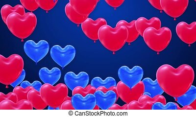 Bunch of red Blue Heart shaped foil Flying Balloons on White Background Alpha Channel.