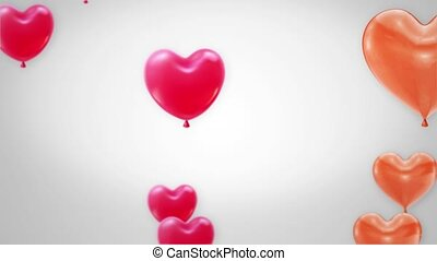 Bunch of red color Heart shaped foil Flying Balloons on White Background Alpha Channel.