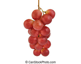 Bunch of red grapes isolated on white.