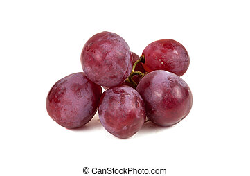 Bunch of red grapes on white background
