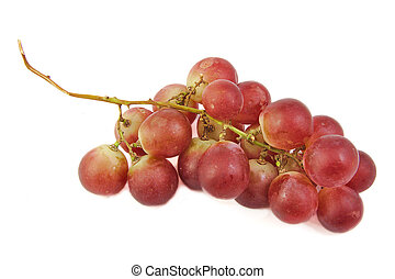 Bunch of red grapes on white background.