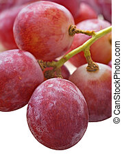 Bunch of red grapes on white