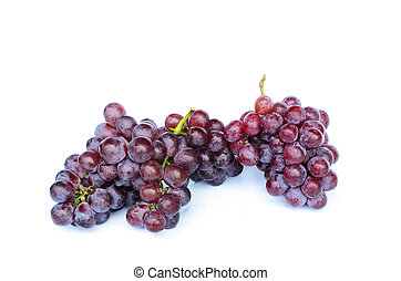 Bunch of red grapes on white backgrounds