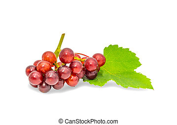 Bunch of red grapes with leaf